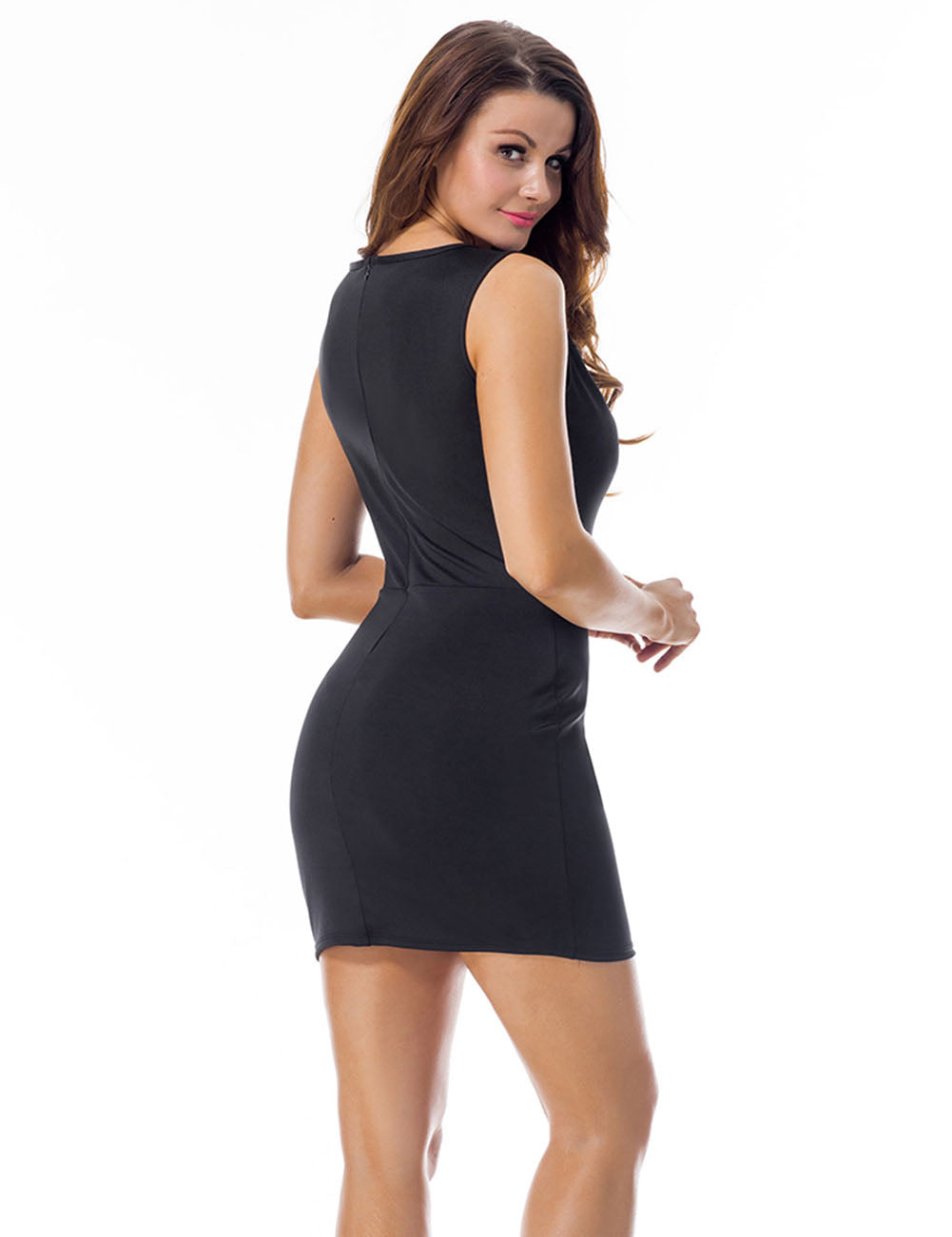 Remarkable Sleeveless Zip Back Mesh Panel Bodycon Dress For Strolling