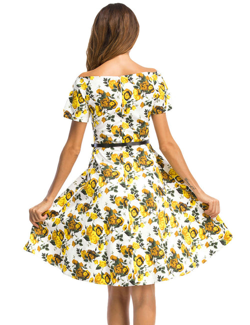 Retro Flower Knee Length Swing Dress Off Shoulder Comfort Fabric