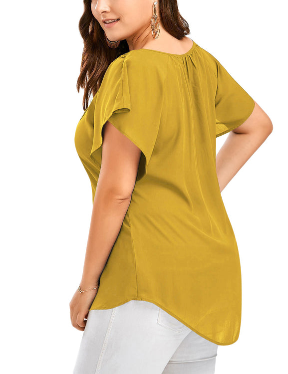 Romans Plus Self Tie V Collar T-Shirt Bell Sleeves Ultimate Comfort