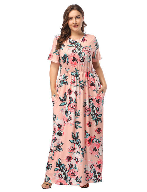 Romantic Plus Size Loose Fit Flower Printed Maxi Dress Womens Fashion