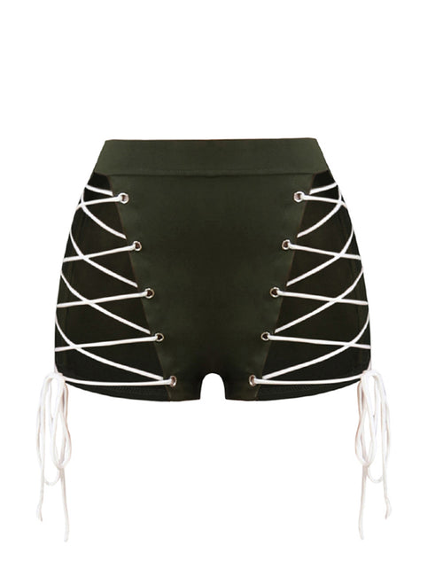Royal Hollow Out Crossover Straps Shorts Zip Back Casual Clothing