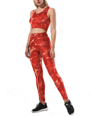 Seductive Beef Print Sweat Suits High Waist Pants Ladies Grace