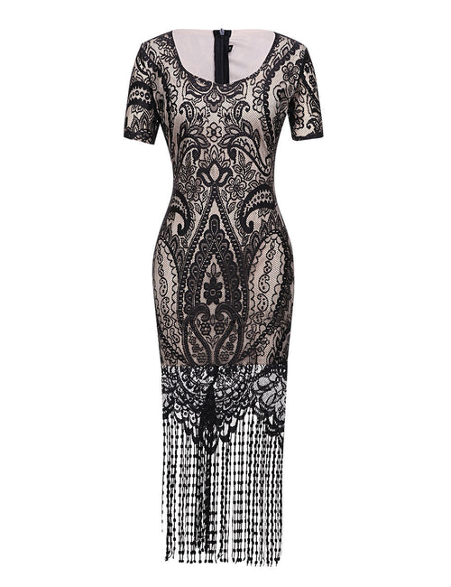 Seductive Floral Lace Bodycon Dress Tassel Hemline Smooth