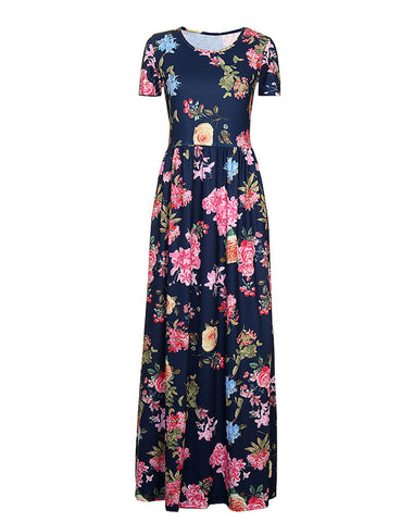 Seductive Floral Round Neck Gathered Waist Dress Maxi Length Feminine Fashion