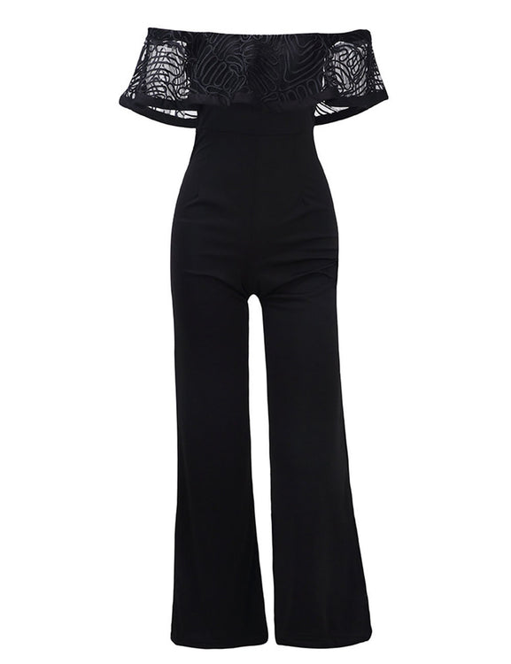 Sensual Silhouette Off Shoulder Long Length Ruffle Overlay Jumpsuit Eye Catcher