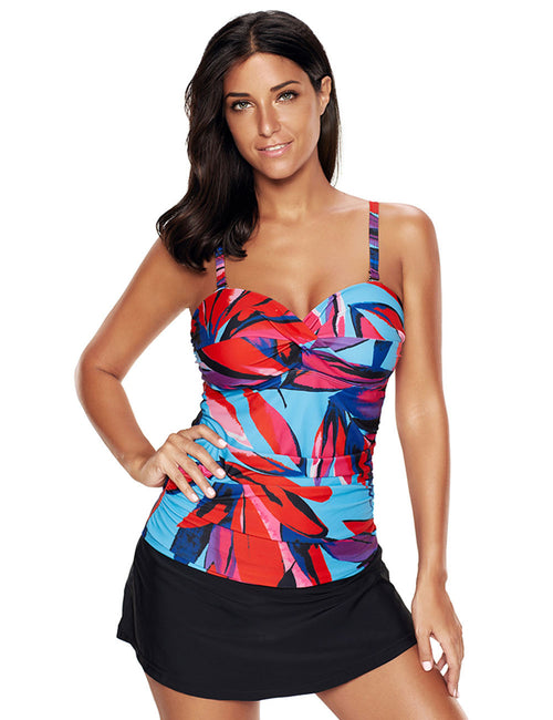 Sexy Ladies Padding Large Ruched Tankini Skirt Mid Waist Shorts Women's Apparel