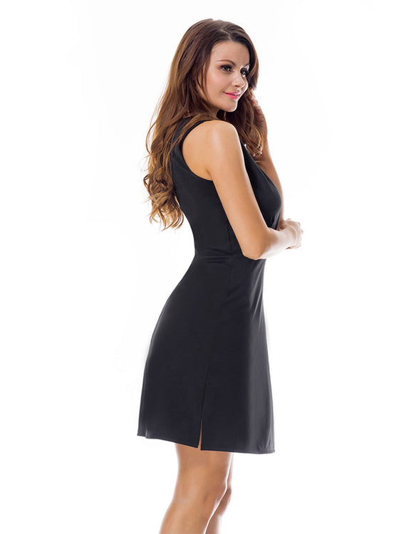 Sheerly Deep V Summer Cocktail Dresses Zip Back Closure Garment