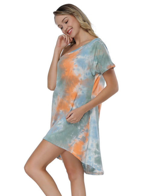 Sheerly Multi-Color Tie Dye Dress Short Sleeve Chic Online