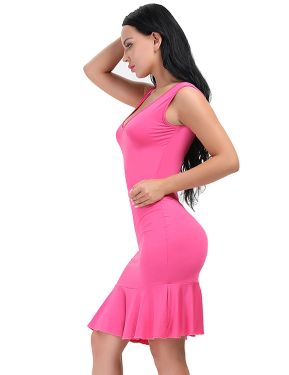 Sheerly Scoop Neck Back Flounce Hem Dress Bodycon Fashion Insider