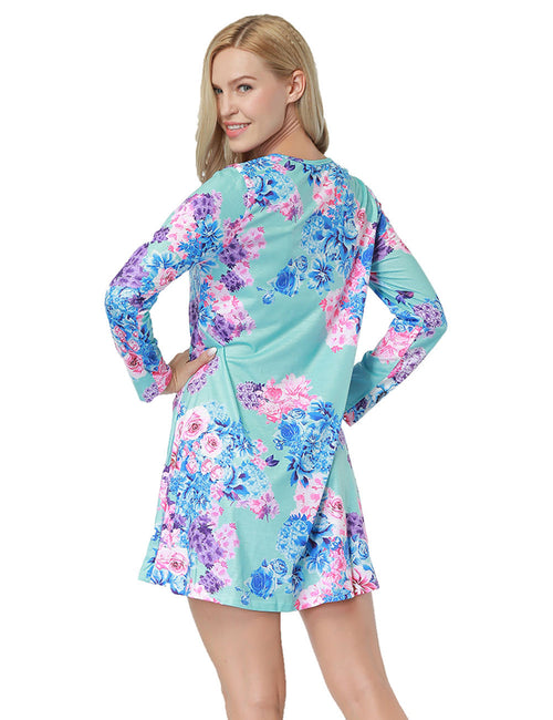 Shimmer Long Sleeve Round Neckline Flower Printed Dress Simplicity