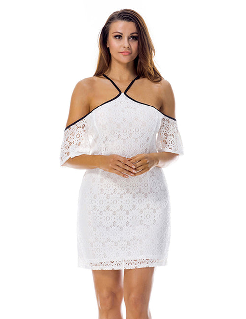 Shimmer Mini Length Lace Cold Shoulder Dress New Fashion