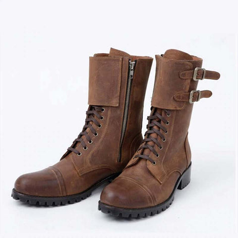 Retro Cowboy Zipper Round Toe Motorcycle Boots