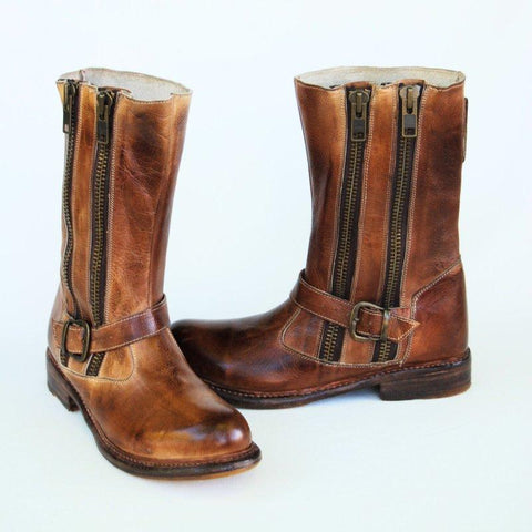 Vintage Daily Flat Heel Artificial Leather All Season Boots