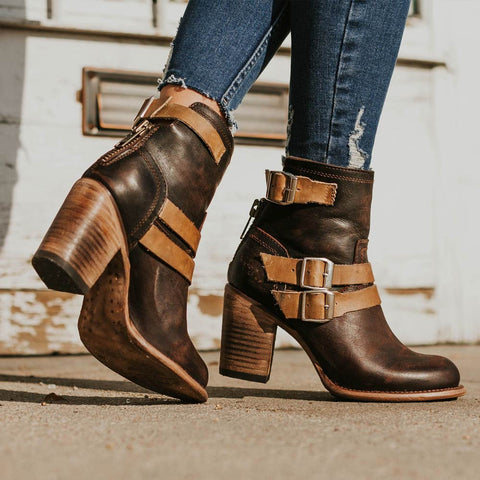 Vintage Chunky High Heels Gladiator Ankle Boots