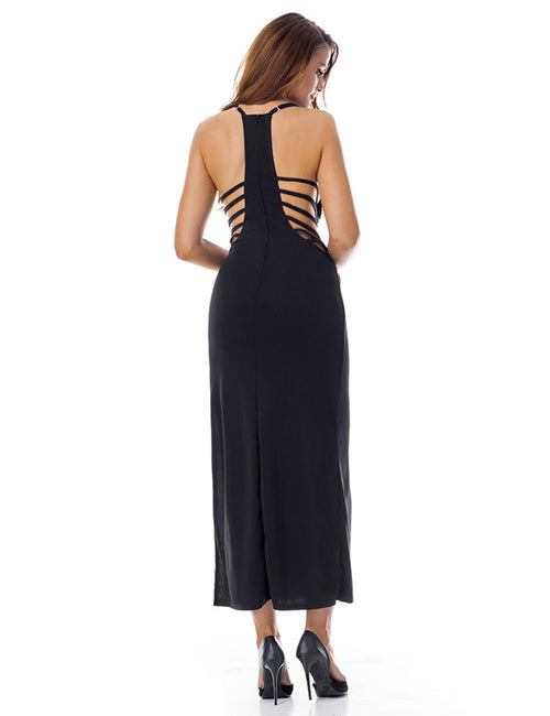Showy Strappy Side Camisole Slit Long Dress Conceal Zip Classic Fashion