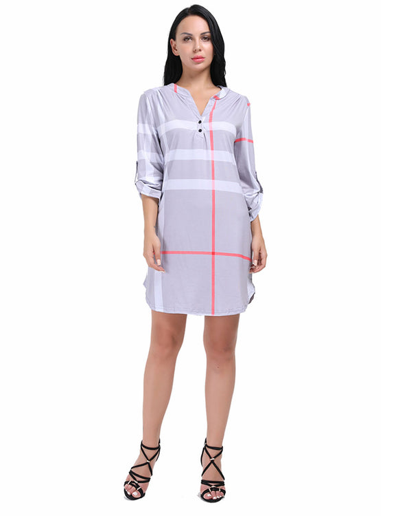 Silhouette Asymmetric Hemline Tab Sleeves Dress Plaid Printed Female Fashion