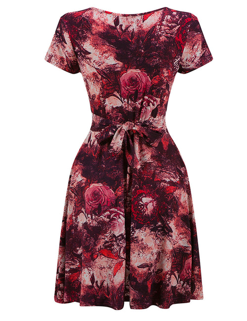 Silhouette Fitted Waist Print Skater Mini Dress Ruffle Hem For Women