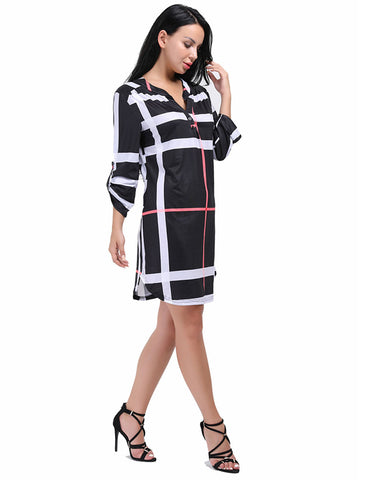 Silhouette Sleeved Button Up Plaid Dress Knee Length Romance