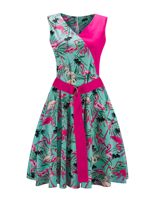 Silhouette Splicing Floral Print Skater Dress For Upscale