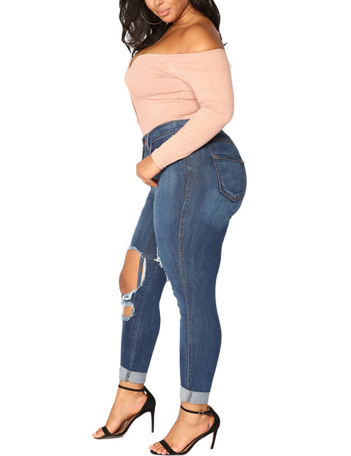 Sleek Pencil Large Denim Pants Zip And Button Closure Feminine Grace
