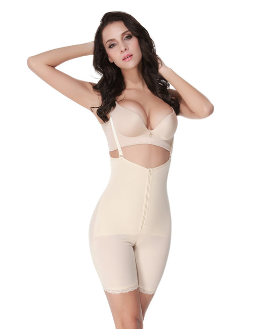 Slimmer Zipper Lace Hem Thigh Shapewear Fashion Comfort
