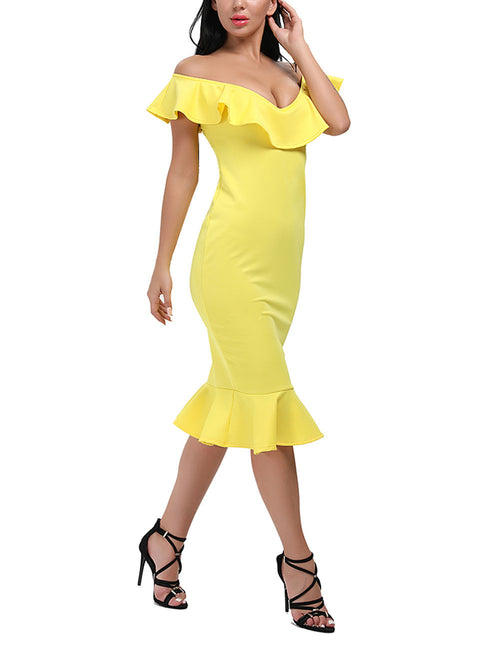 Slinky Off Shoulder Flouncy Hem Bodycon Dress Smooth