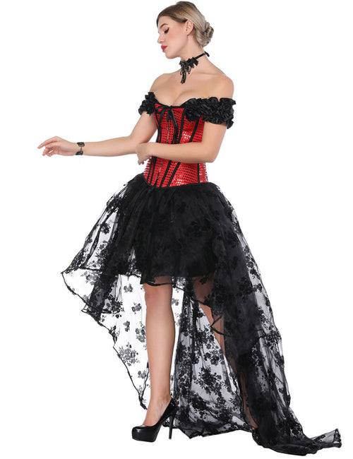 Slinky Ruffled Off Shoulder Bustier Dress Set Bowknot Ladies