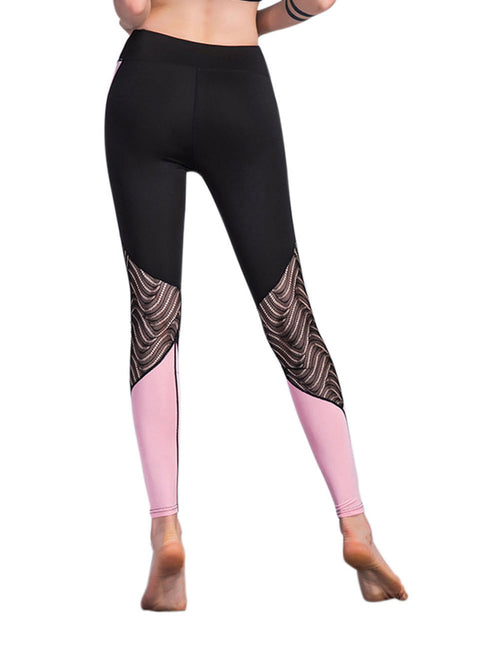 Smoothing Splicing Lace Workout Leggings Moisture Management