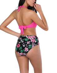 Snazzy Double Bowknots Swimwear High Leg Cut Summer Holiday