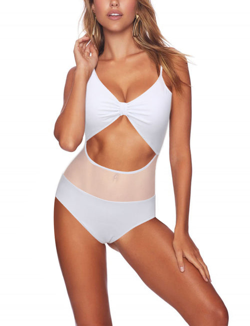 Snazzy Ruched Cup Mesh Hollow Out Beachwear For Vacation