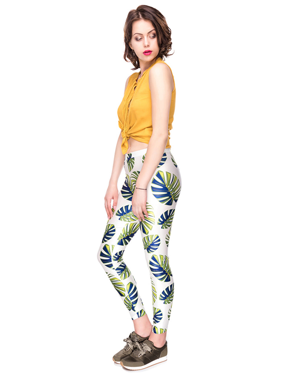 Sophisticated Digital Printing Tights Cropped Ankle Tight