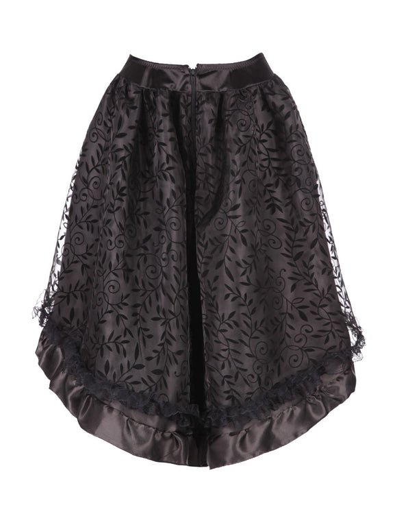 Sophisticated Flunce High Low Hem Skirt Floral Pattern Plus Refined Outfit