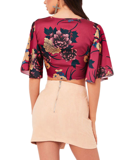 Sophisticated Front Tie Crop Top Flower Printing Feminine Elegance