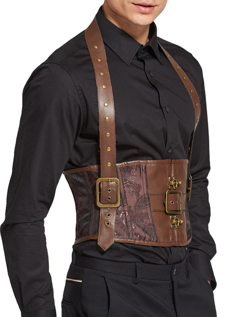 Sophisticated Leather Jacquard Halter Belt Men Corset 8 Steel Boned Classical Couture