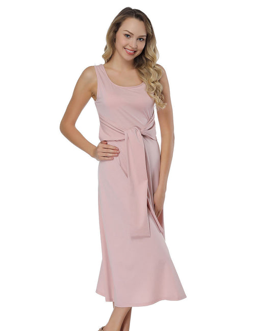 Sophisticated Waist Sash Tea Length Dresses Sleeveless Feminine Fashion