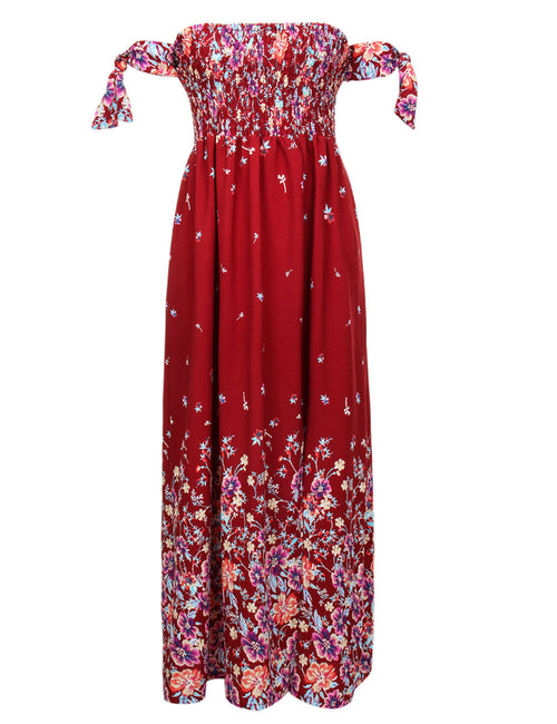 Sparkly Smocking Bust Print Midi Dress Side Split Fashion Online