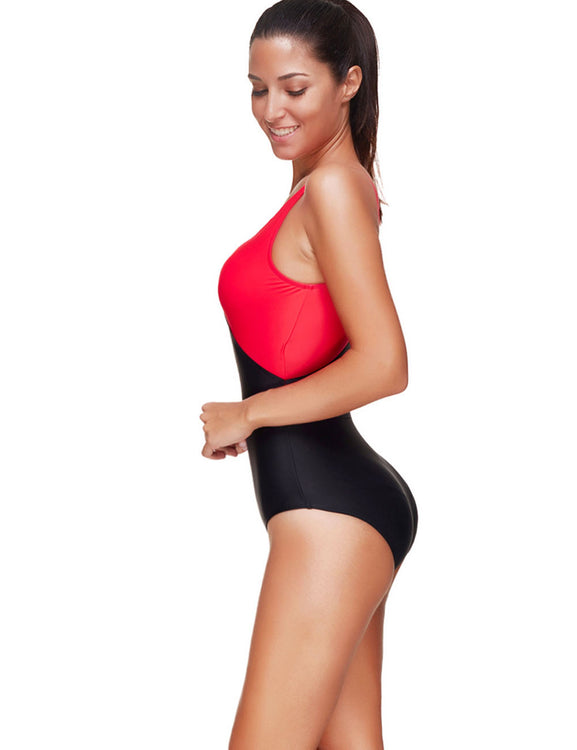 Spectacular Color Block Wire Free Plus Size One Piece Swimsuits Leisure Time