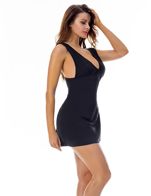 Spectacular Deep V Neck Thick Strap Dress Conceal Zip Classic Fashion
