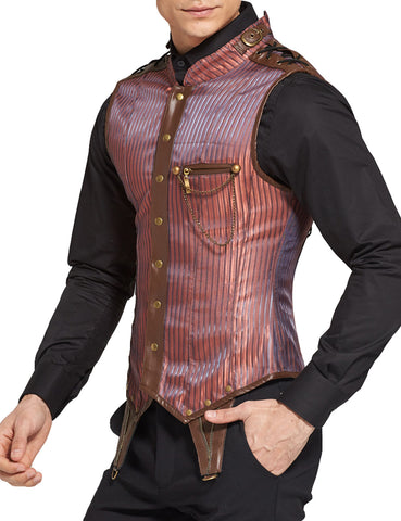 Splendid Lacing Shoulder 8 Steel Boned Steampunk Men Waistcoat Corset High Quality