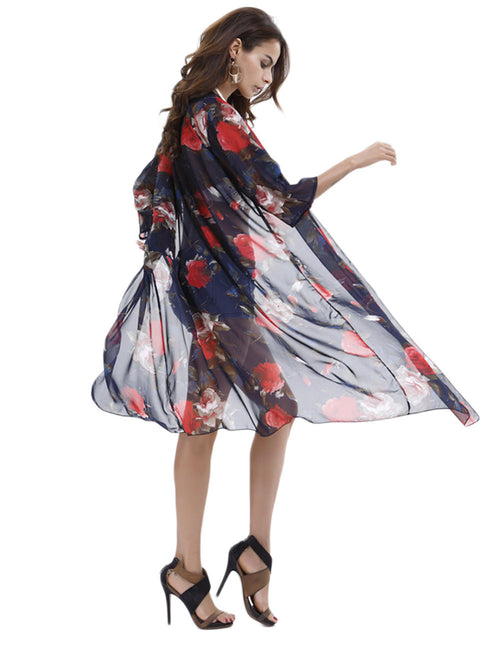 Splendor Floral Print Swimsuits Chiffon Cover Ups Weekend Fashion