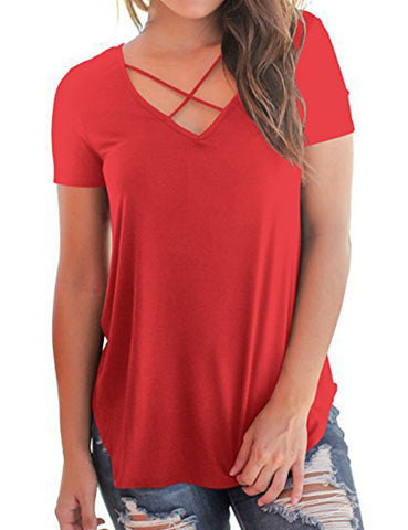 Spring Side Cut Crossover Straps V Neck Female Grace