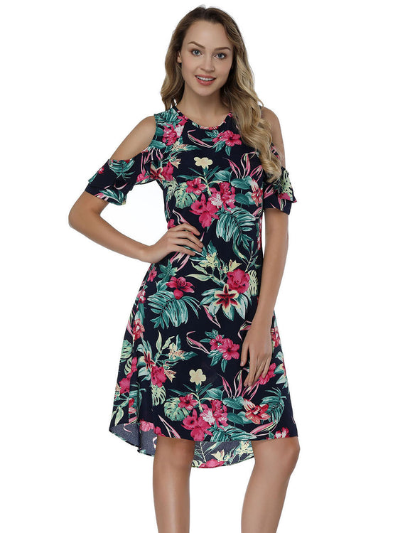 Staple Printing Flounce Mini Dresses Round Neck Unique Fashion