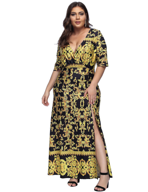 Striking African Style Print Maxi Dress Queen Size Best Materials