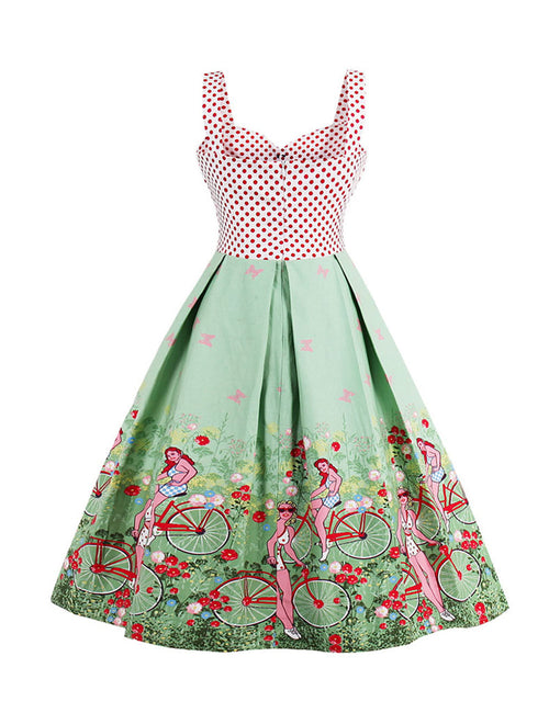 Striking Plus Polka Dot Top Pleated Sweetheart Dress Thick Straps Latest Fashion