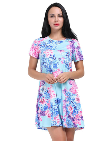 Subtle Mini Length Sleeved Flower T Shirt Dress O Neck Trend For Women
