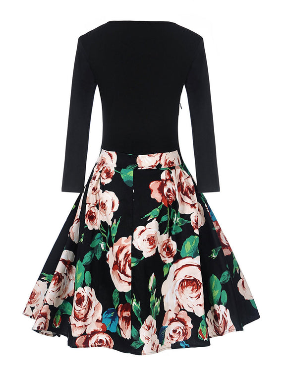 Sultry Rose Print Dress Wide Pleated Hem Weekend Time