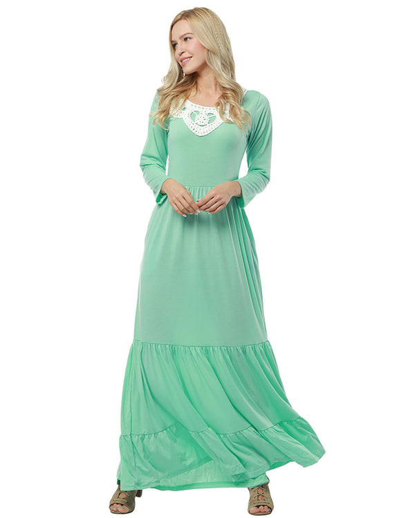 Summary Tiered Lace Patchwork Maxi Dress Full Sleeves Understated Design