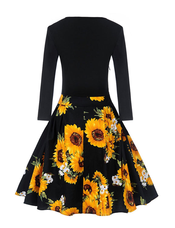 Sunflower Print Fit Top Flare Dating Dress Knee Length Comfort Fashion