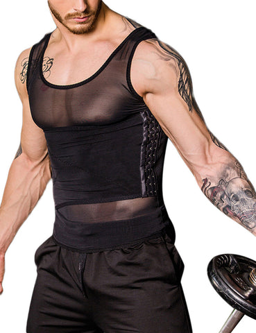 Comfort Zipper Closure Mens Shaper Top Mesh Patchwork Tight Fit