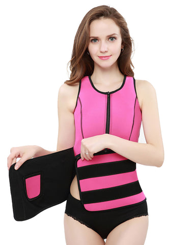Slimming Tummy Plus Black Trim Neoprene Waist Slimmer Zipper